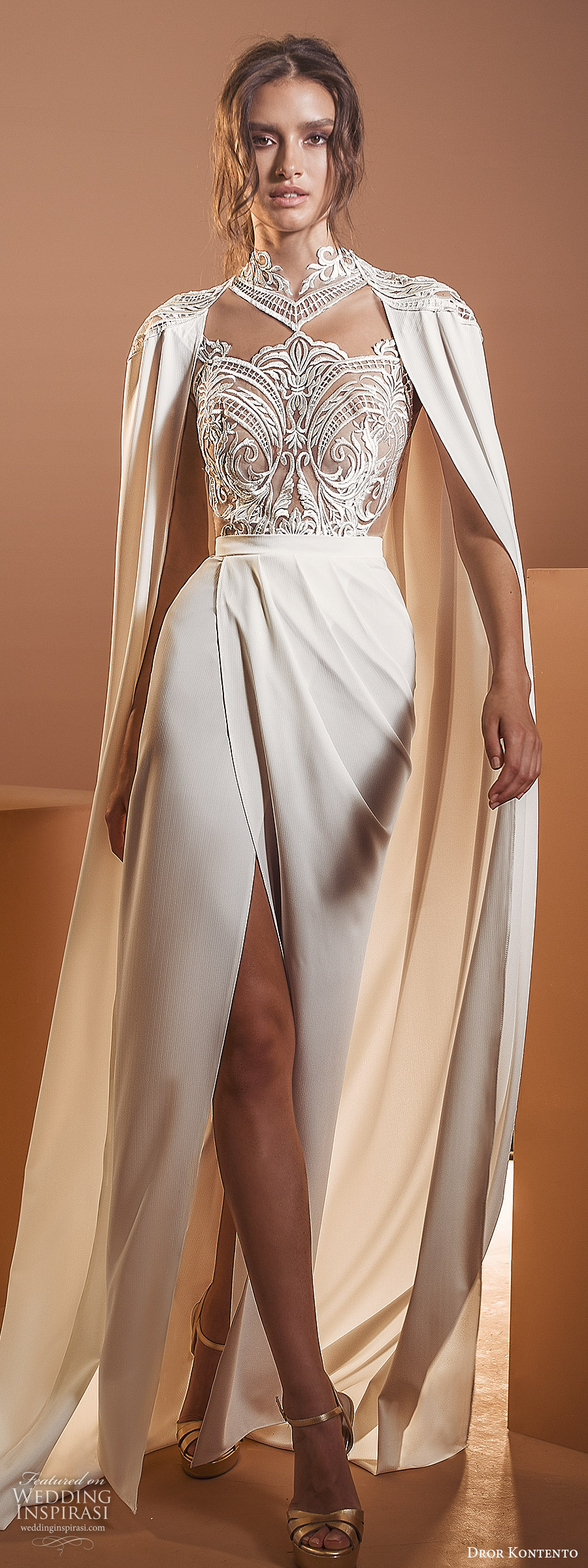 dror kontento 2020 bridal long cape sleeves high neckline embellished lace sheer bodice column sheath wedding dress with cape slit skirt chapel train (6) lv
