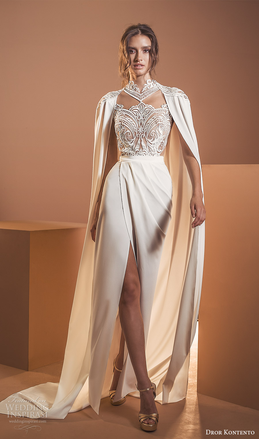 dror kontento 2020 bridal long cape sleeves high neckline embellished lace sheer bodice column sheath wedding dress with cape slit skirt chapel train (6) mv