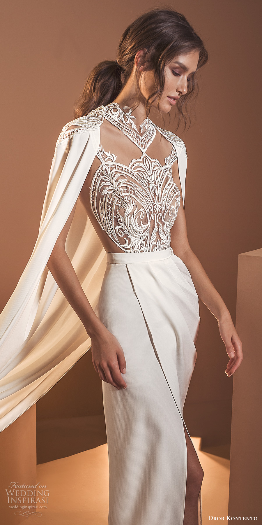 dror kontento 2020 bridal long cape sleeves high neckline embellished lace sheer bodice column sheath wedding dress with cape slit skirt chapel train (6) zv