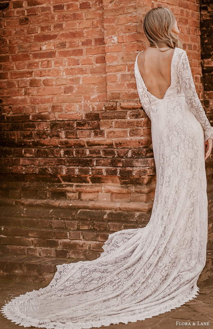 flora and lane 2019 bridal flutter sleeves scoop neckline fully embellished lace sheath romantic boho wedding dress scoop back chapel train (4) bv