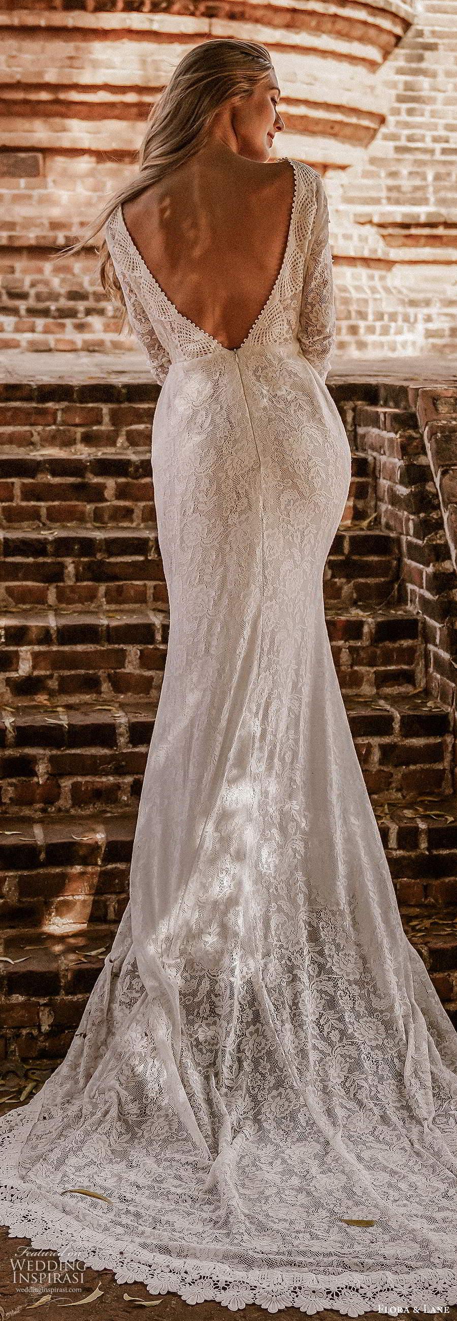 flora and lane 2019 bridal flutter sleeves scoop neckline fully embellished lace sheath romantic boho wedding dress scoop back chapel train (4) lv