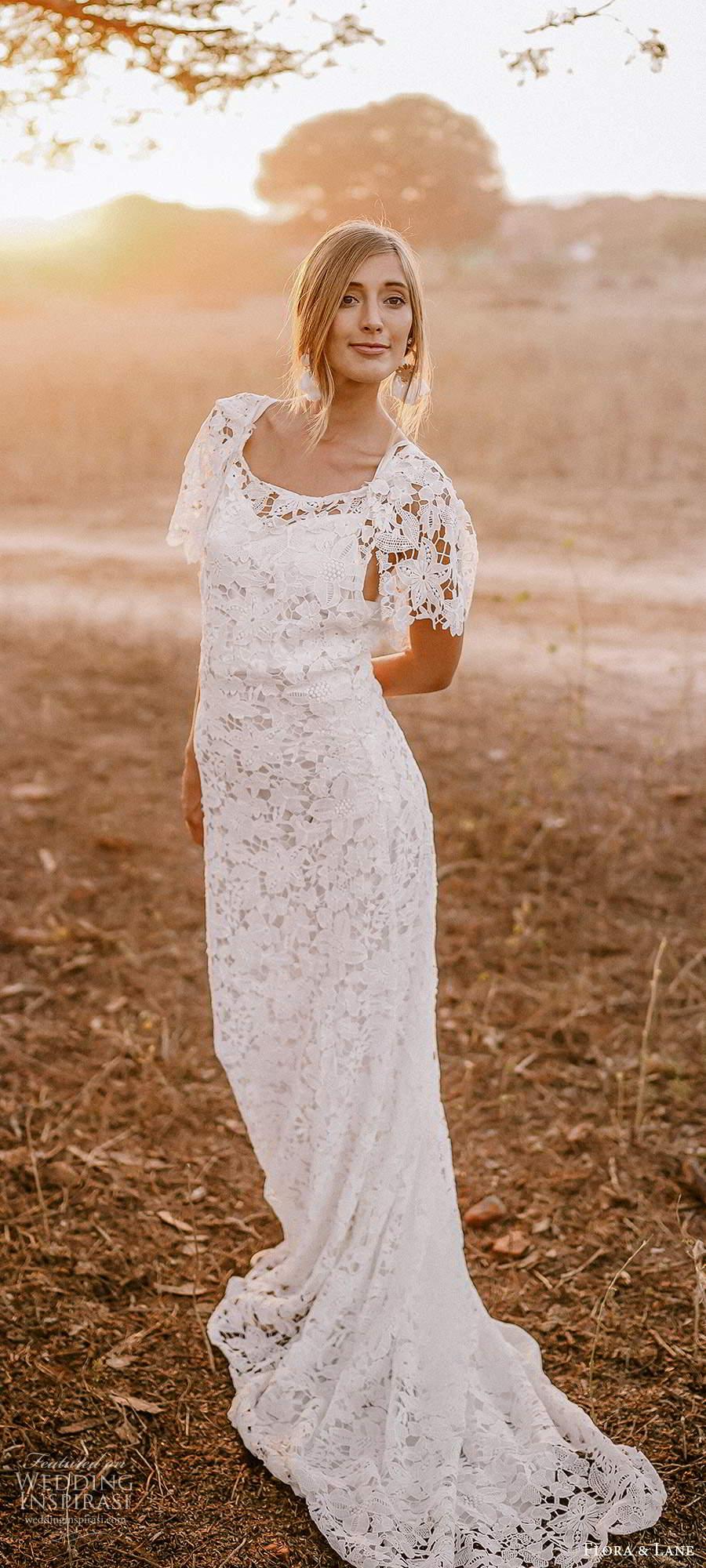 flora and lane 2019 bridal flutter sleeves scoop neckline fully embellished lace sheath romantic boho wedding dress scoop back chapel train (4) mv