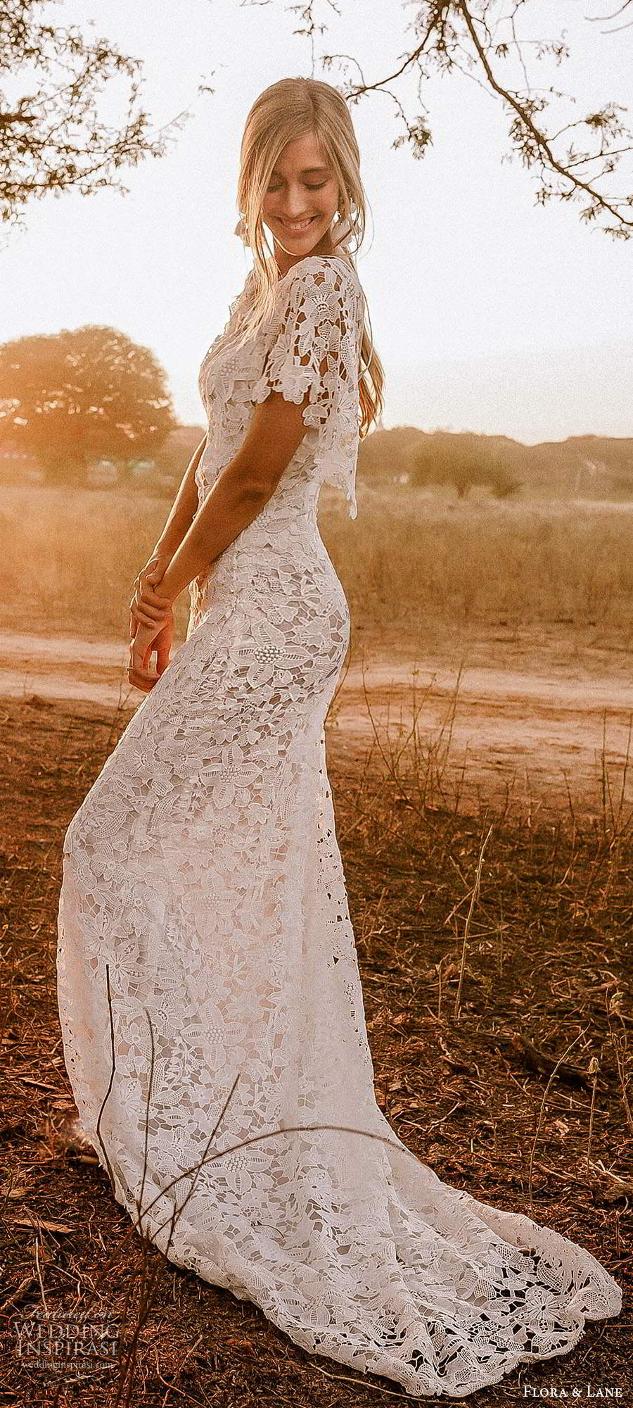 flora and lane 2019 bridal flutter sleeves scoop neckline fully embellished lace sheath romantic boho wedding dress scoop back chapel train (4) sv