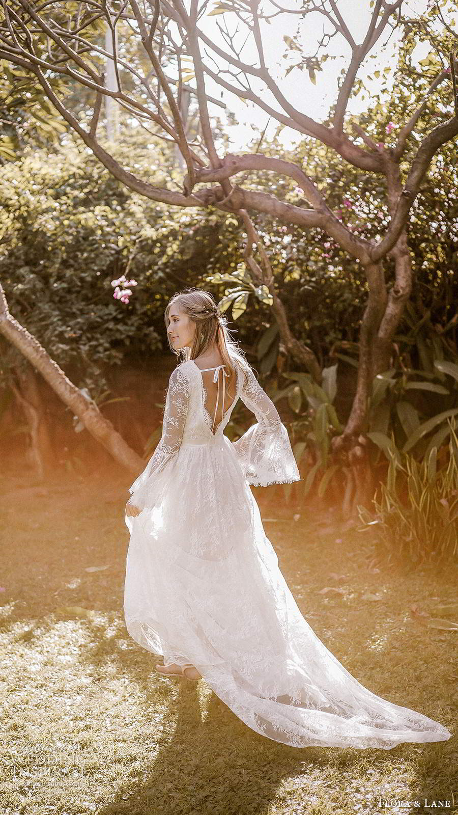 flora and lane 2019 bridal long flare sleeves v neckline fully embellished lace boho romantic a line wedding dress v back chapel train (3) bv