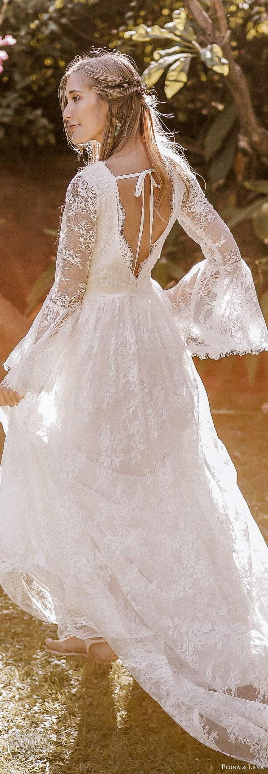 flora and lane 2019 bridal long flare sleeves v neckline fully embellished lace boho romantic a line wedding dress v back chapel train (3) lv