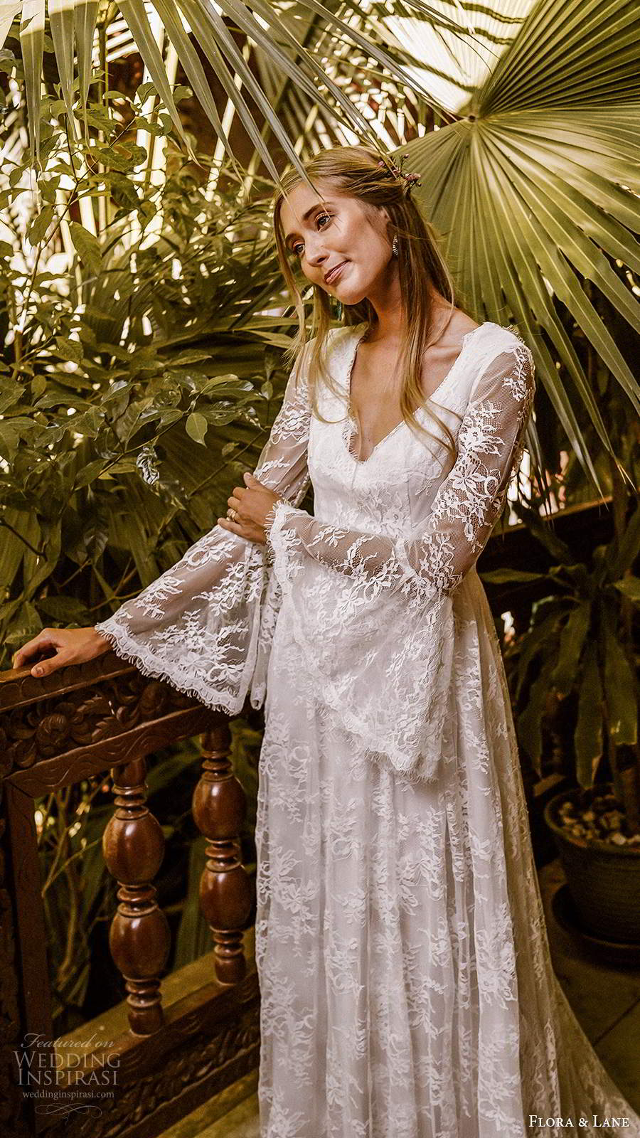 flora and lane 2019 bridal long flare sleeves v neckline fully embellished lace boho romantic a line wedding dress v back chapel train (3) mv