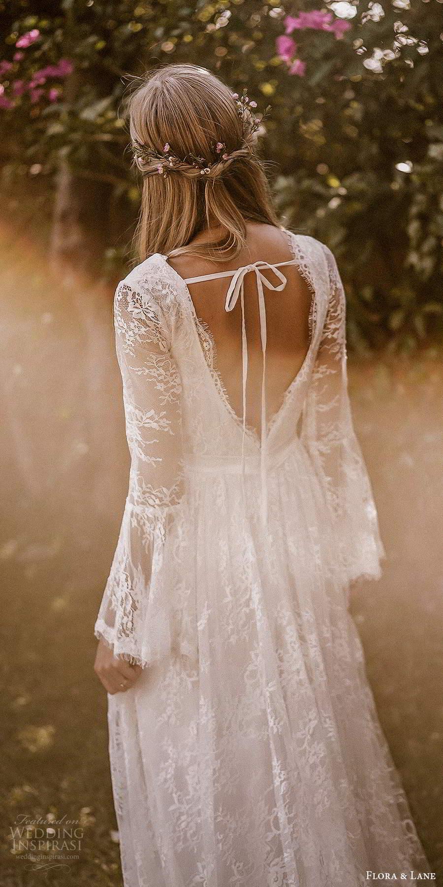 flora and lane 2019 bridal long flare sleeves v neckline fully embellished lace boho romantic a line wedding dress v back chapel train (3) zbv