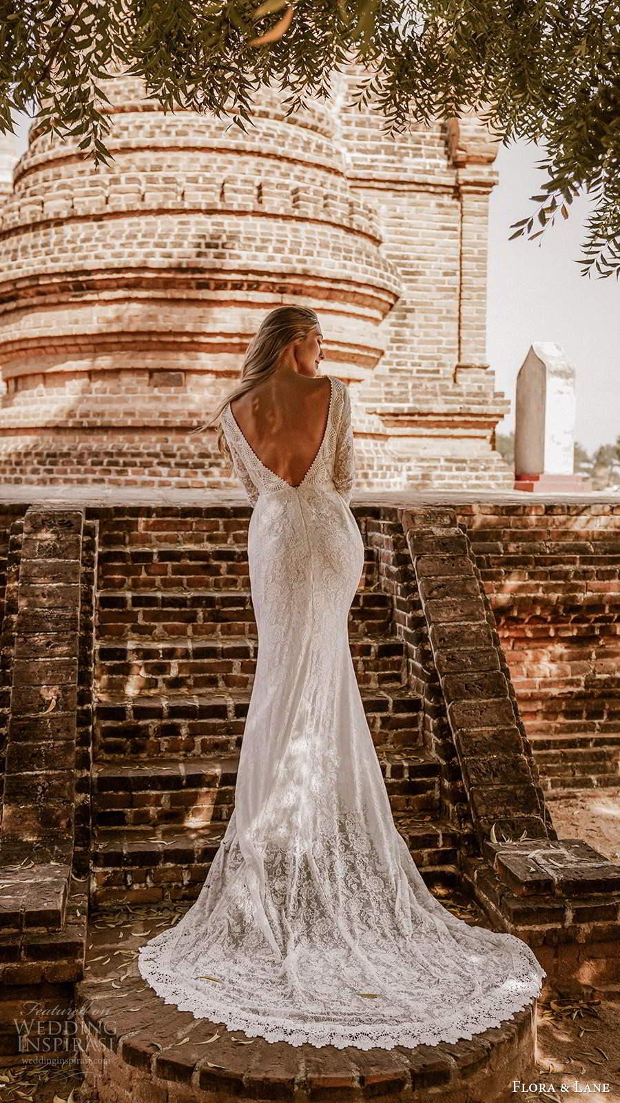 flora and lane 2019 bridal long sleeves bateau neckline fully embellished lace boho romantic mermaid sheath wedding dress v back chapel train (5) bv