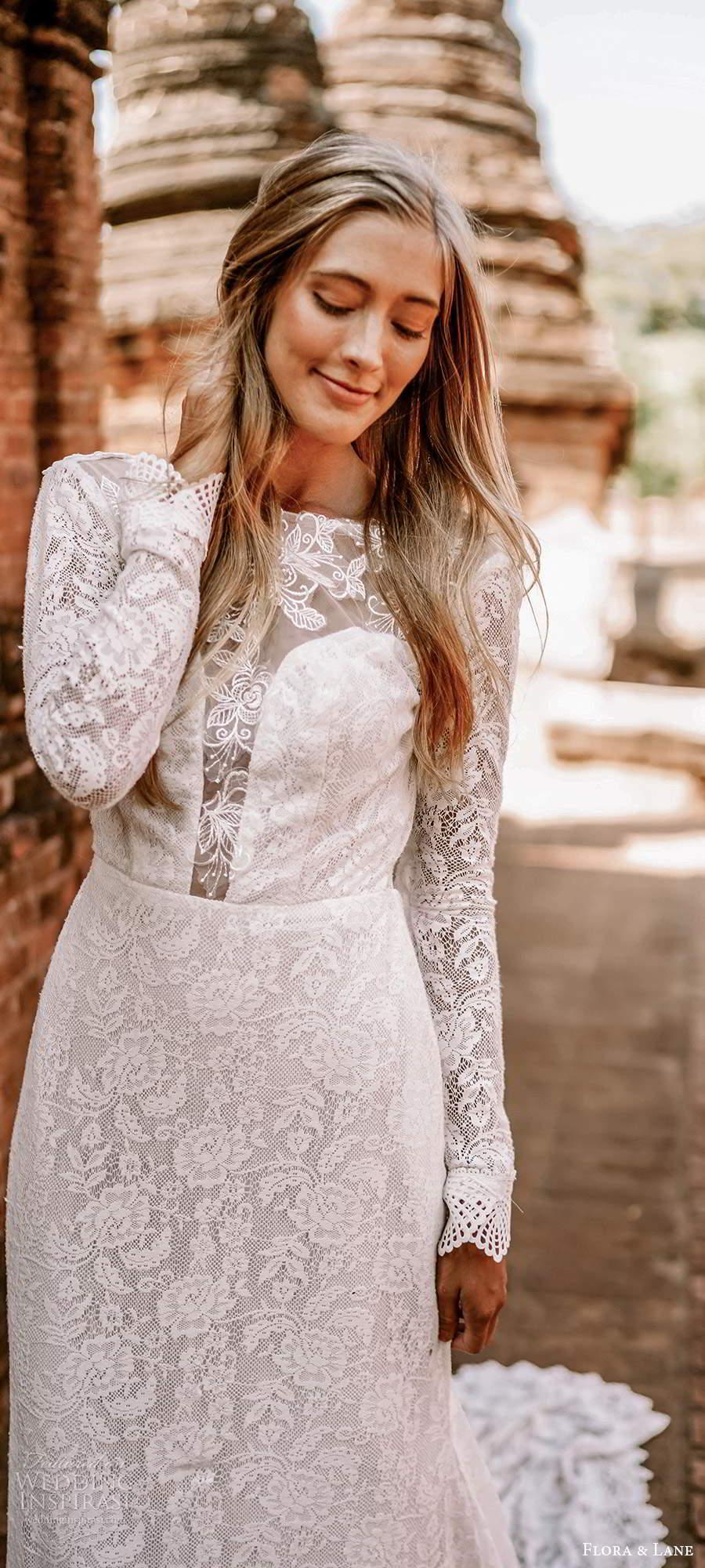 flora and lane 2019 bridal long sleeves bateau neckline fully embellished lace boho romantic mermaid sheath wedding dress v back chapel train (5) mv