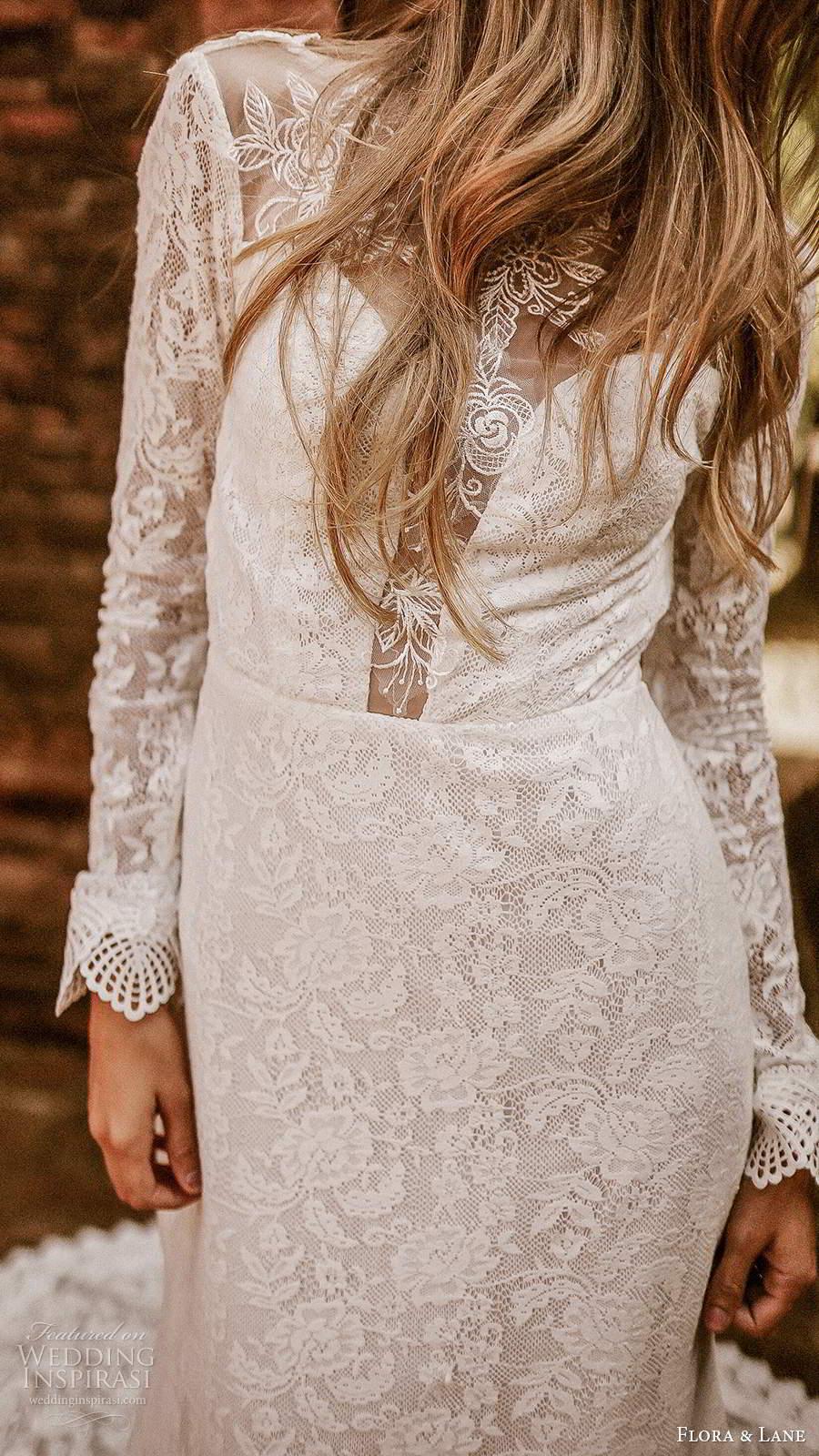 flora and lane 2019 bridal long sleeves bateau neckline fully embellished lace boho romantic mermaid sheath wedding dress v back chapel train (5) zv