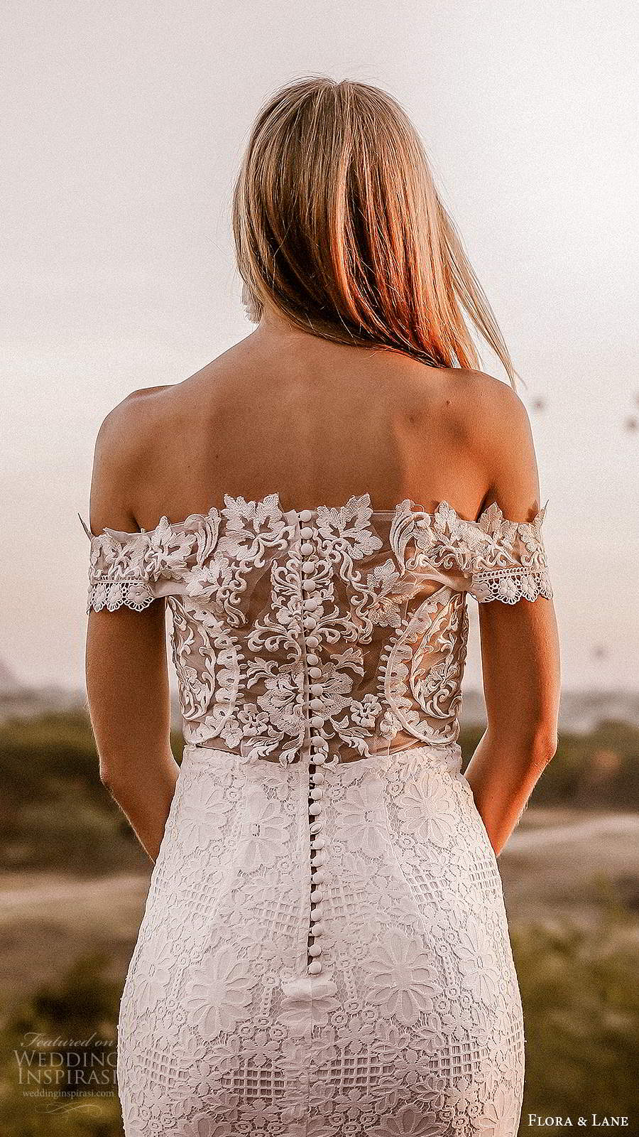 flora and lane 2019 bridal off shoulder short sleeves straight across neckline fully embellished lace sheath mermaid wedding dress sheer back chapel train (2) zbv