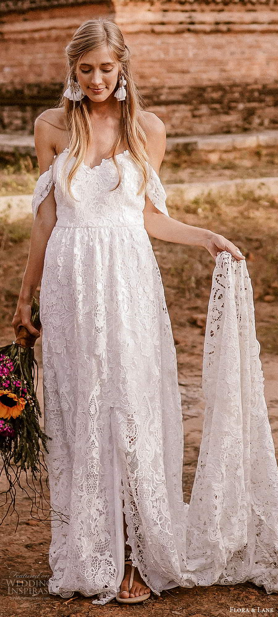 flora and lane 2019 bridal off shoulder straps sweetheart neckline fully embellished lace romantic boho ball gown a line wedding dress slit skirt cathedral train (6) lv