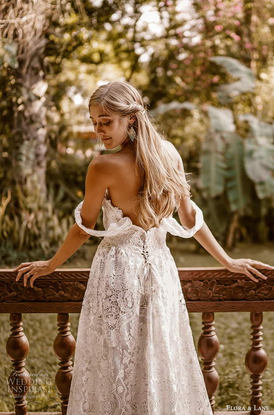 flora and lane 2019 bridal off shoulder straps sweetheart neckline fully embellished lace romantic boho ball gown a line wedding dress slit skirt chapel train (6) zbv
