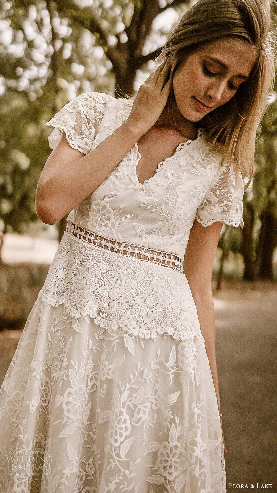 flora and lane 2019 bridal sheer short sleeves v neckline fully embellished lace romantic a line ball gown wedding dress keyhole back chapel train (5) mv