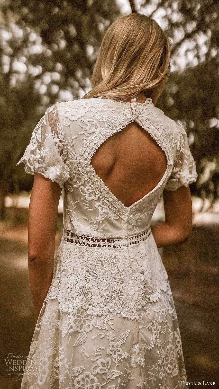 flora and lane 2019 bridal sheer short sleeves v neckline fully embellished lace romantic a line ball gown wedding dress keyhole back chapel train (5) zbv