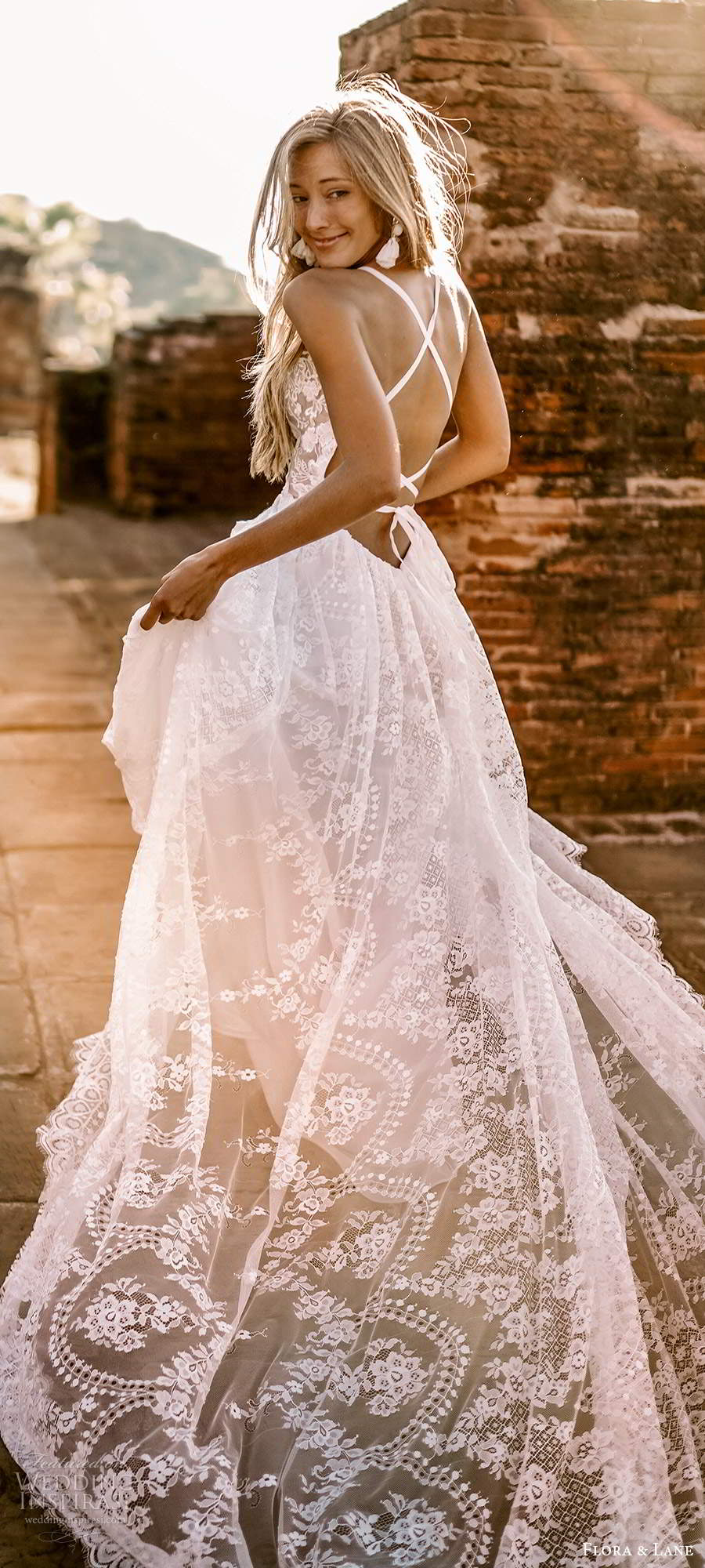 flora and lane 2019 bridal sleeveless straps sweetheart neckline fully embellished lace boho romantic a line ball gown wedding dress open back chapel train (1) bv