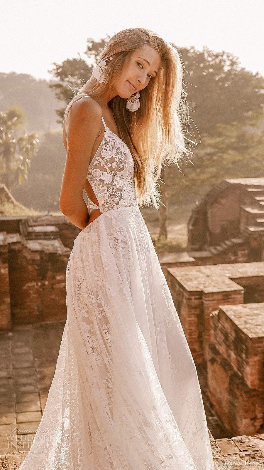 flora and lane 2019 bridal sleeveless straps sweetheart neckline fully embellished lace boho romantic a line ball gown wedding dress open back chapel train (1) zsv