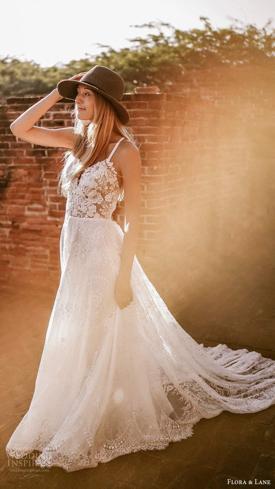 flora and lane 2019 bridal sleeveless straps sweetheart neckline fully embellished lace boho romantic a line ball gown wedding dress open back chapel train (1) zv