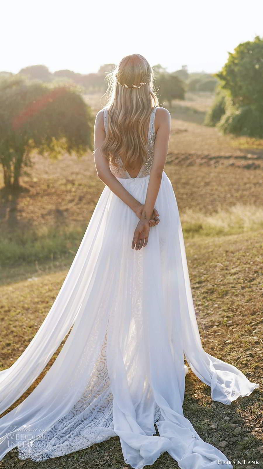 flora and lane 2019 bridal sleevelss straps v neckline heavily embellished bodice a line ball gown wedding dress v back chapel train (7) bv