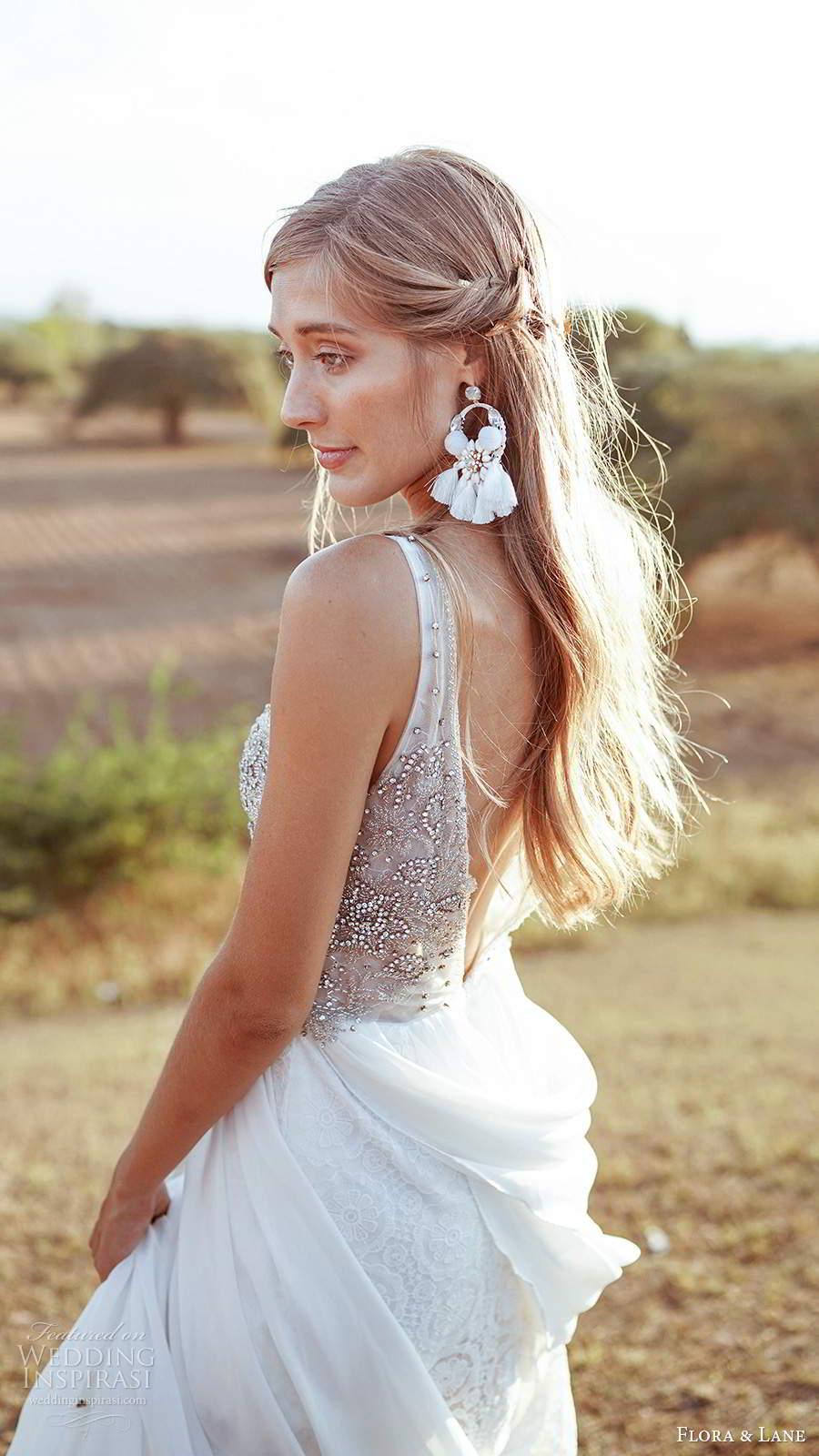 flora and lane 2019 bridal sleevelss straps v neckline heavily embellished bodice a line ball gown wedding dress v back chapel train (7) zsv