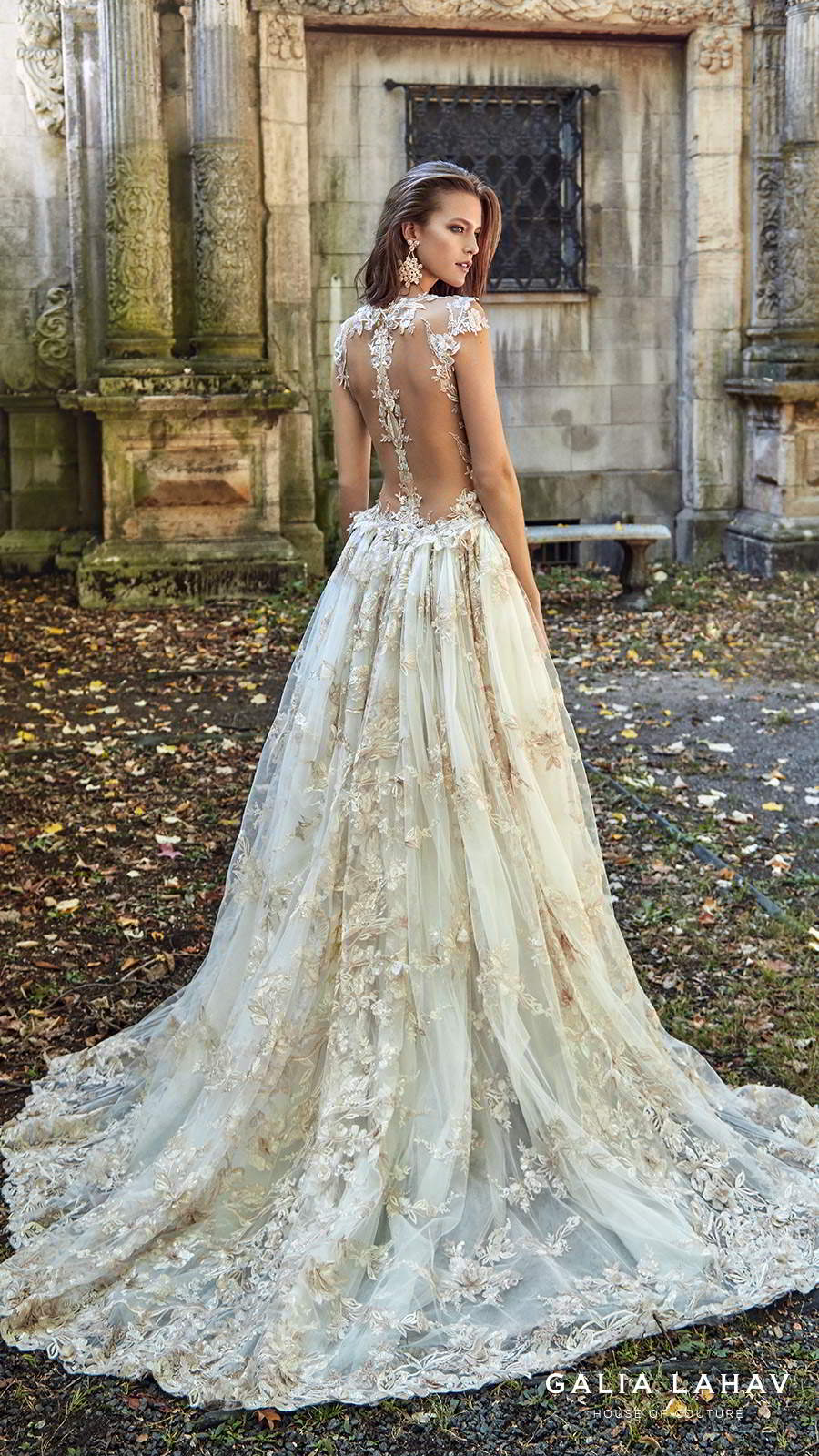 galia lahav fall 2017 bridal sleeveless deep plunging v neck full embellishment sexy princess ball gown a line wedding dress overskirt illusion low back chapel train (lily rose) bv