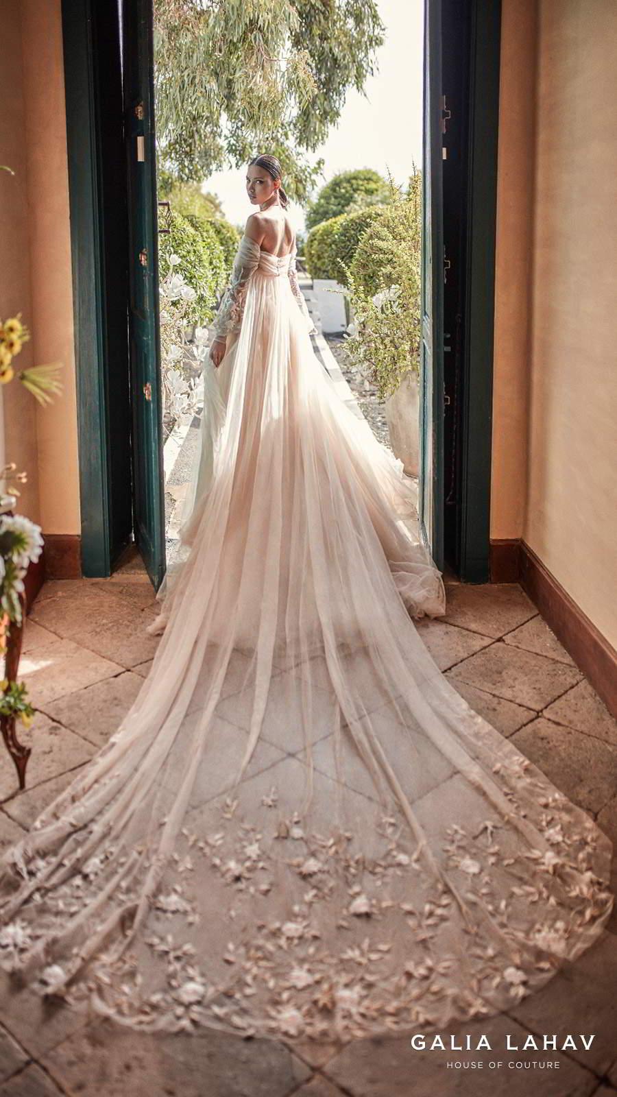 galia lahav fall 2018 bridal long bishop sleeves off the shoulder sweetheart neckline ruche bodice champagne romantic a  line wedding dress royal train (magnolia)  bv