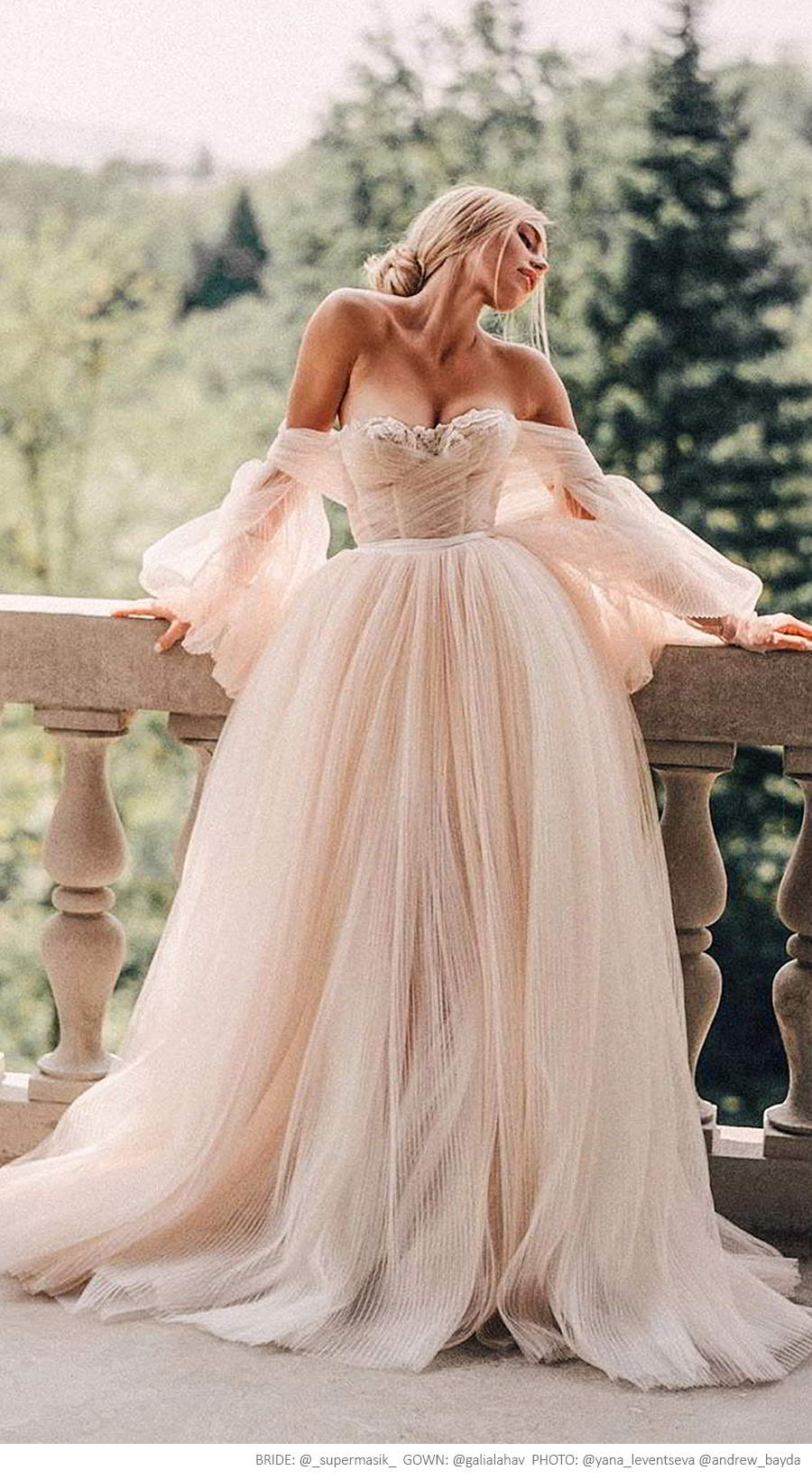 galia lahav fall 2019 bridal off shoulder sheer balloon sleeves sweetheart neckline lace bodice pleated ball gown wedding dress sweep train (bellina) supermasik yanaleventseva andrewbayda