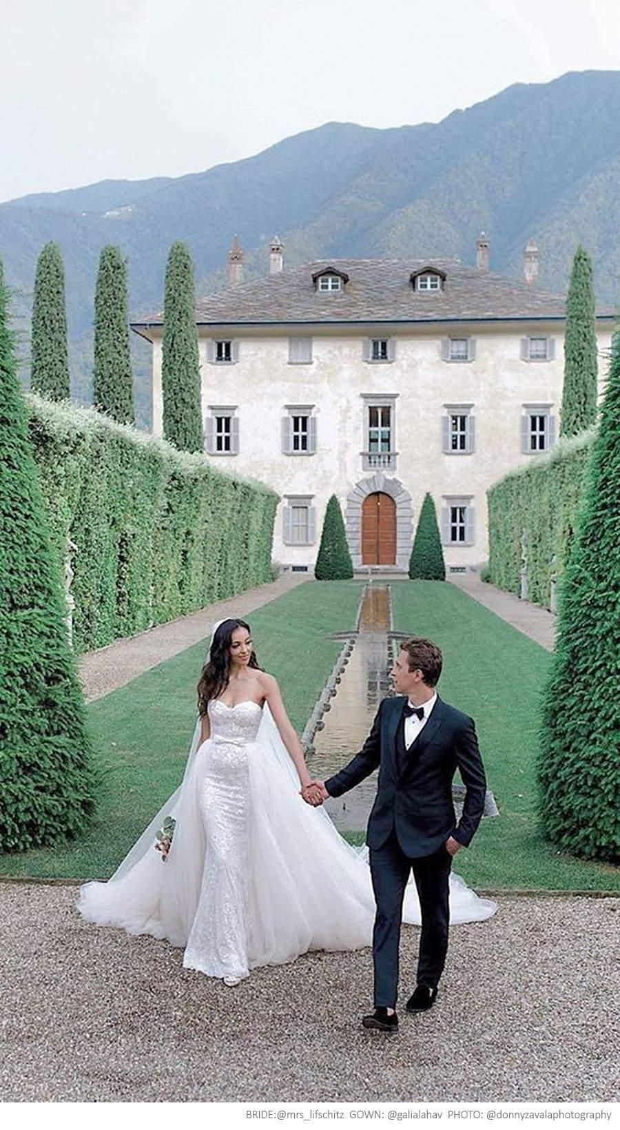 galia lahav fall 2019 bridal strapless straight across lace sheath mermaid wedding dress chapel train illusion a line overskirt pockets gloves (alba) mrs lifschitz photo donnyzavalaphotography