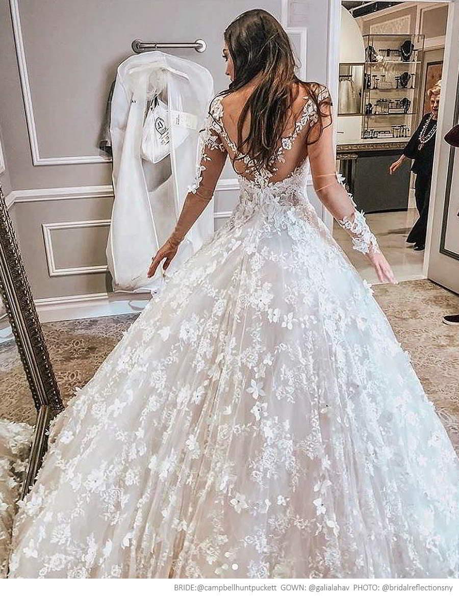 galia lahav spring 2017 bridal illusion long sleees deep vneck fully embellished aline lace wedding dress chapel train (arabella) campbellhuntpuckett photo bridalreflectionsny