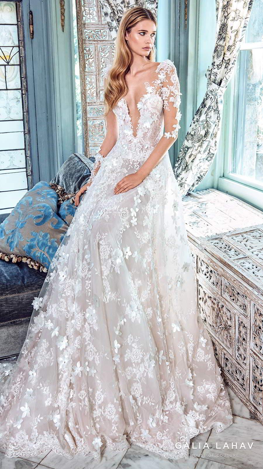 galia lahav spring 2017 bridal illusion long sleees deep vneck fully embellished aline lace wedding dress chapel train (arabella) mv