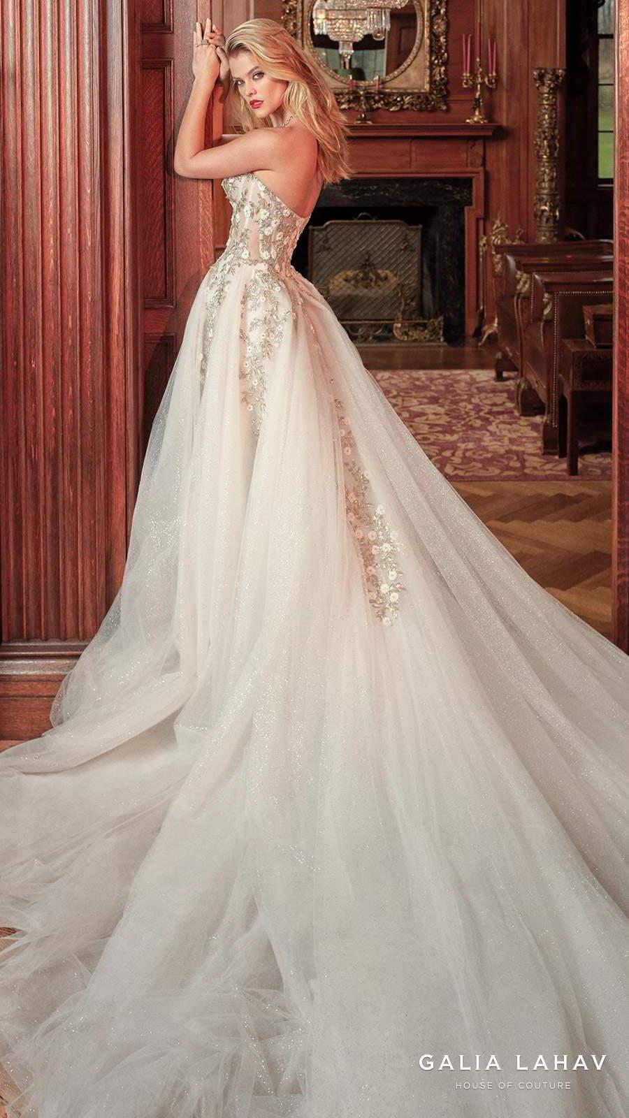 galia lahav spring 2019 bridal strapless sweetheart neckline heavily embellished bodice romantic pretty a  line wedding dress royal train (aelin) mv