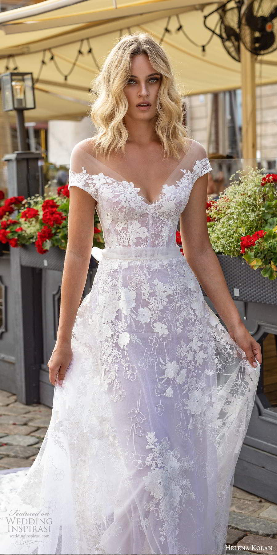 helena kolan 2020 bridal illusion cap sleeves sheer v neck sweetheart neckline fully embellished lace a line wedding dress illusion back chapel train  (4) zv