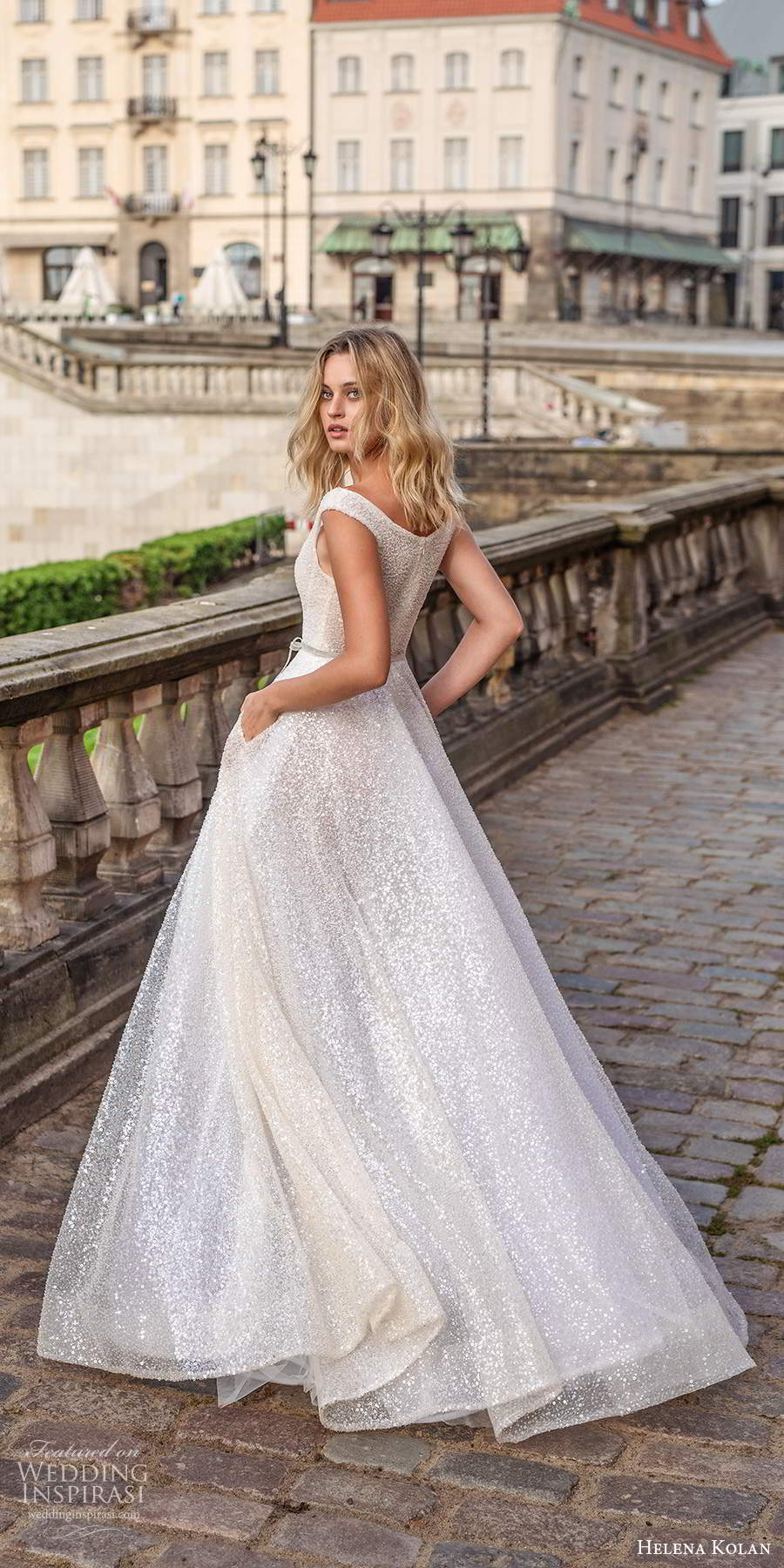 helena kolan 2020 bridal off shoulder cap sleeves scoop neckline fully embellished glitzy glam a line ball gown wedding dress pockets sweep train (13) bv