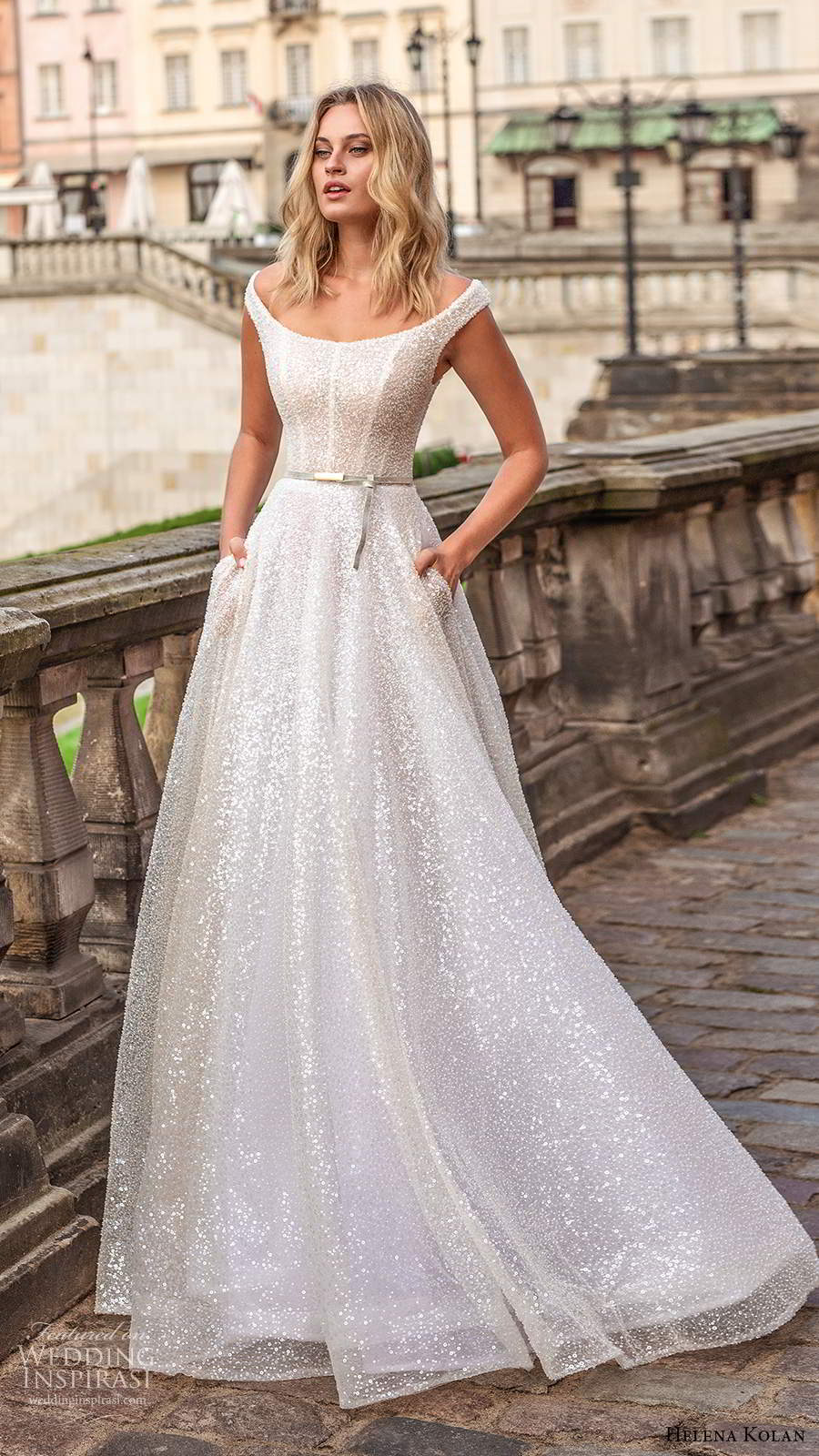 helena kolan 2020 bridal off shoulder cap sleeves scoop neckline fully embellished glitzy glam a line ball gown wedding dress pockets sweep train (13) mv