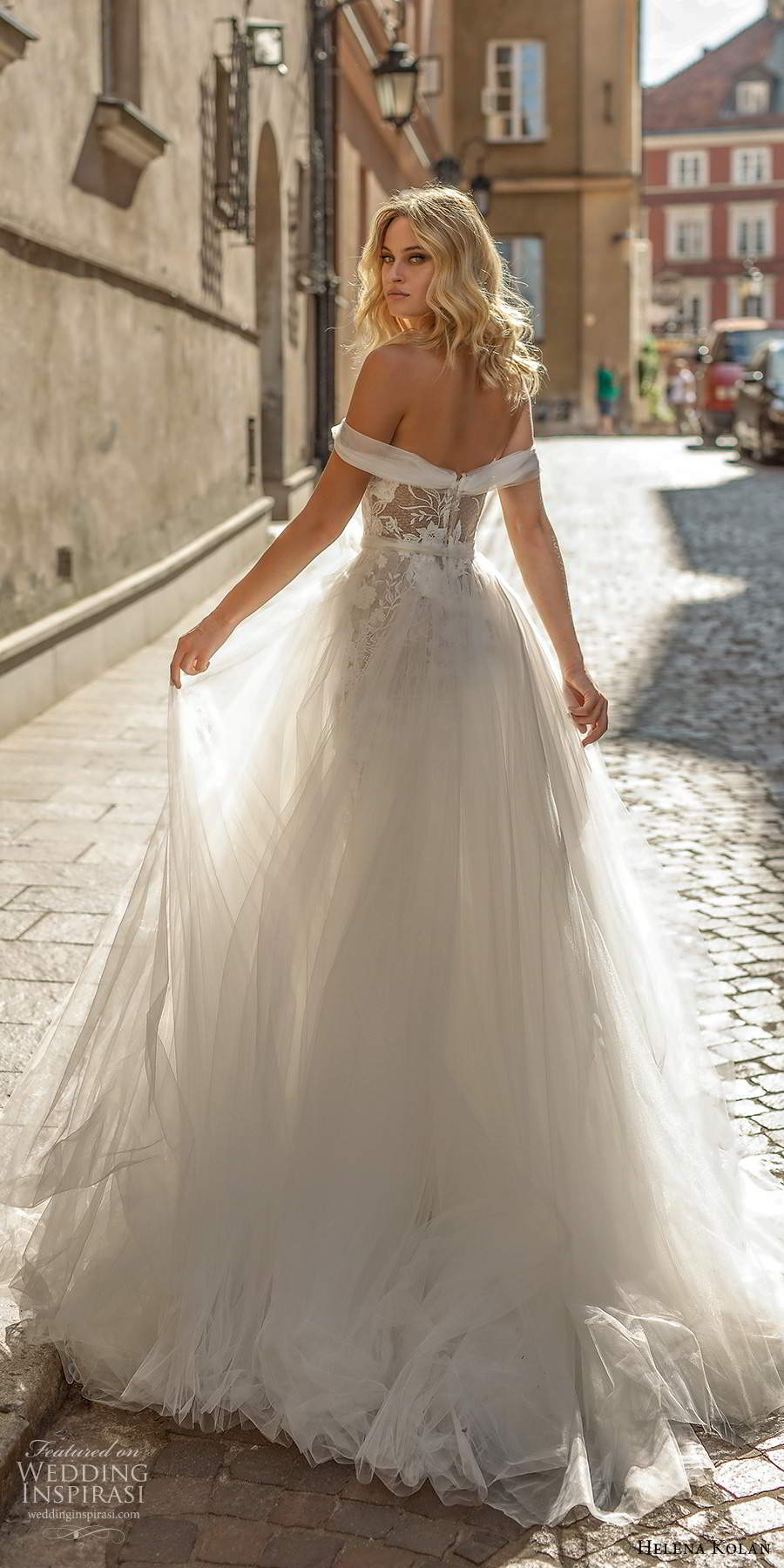 helena kolan 2020 bridal off shoulder straps sweetheart neckline fully embellished lace fit flare mermaid wedding dress ball gown overskirt sheer back chapel train (7) bv