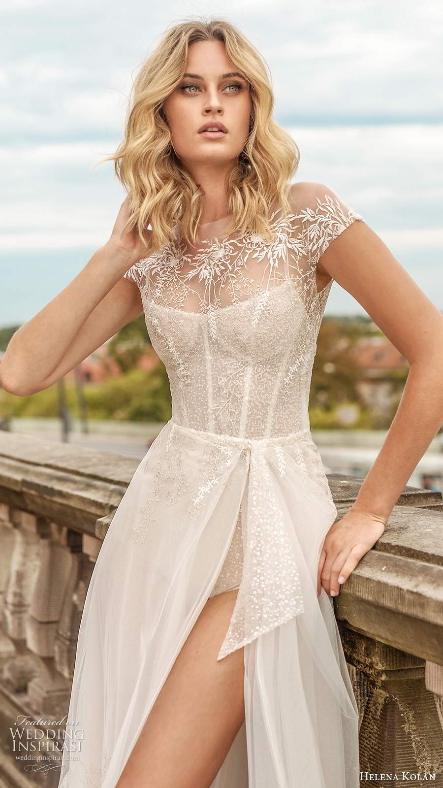 helena kolan 2020 bridal sheer cap sleeves sleeveless thin straps scoop neckline heavily embellished bodice slit skirt sexy a line wedding dress chapel train (2) zv