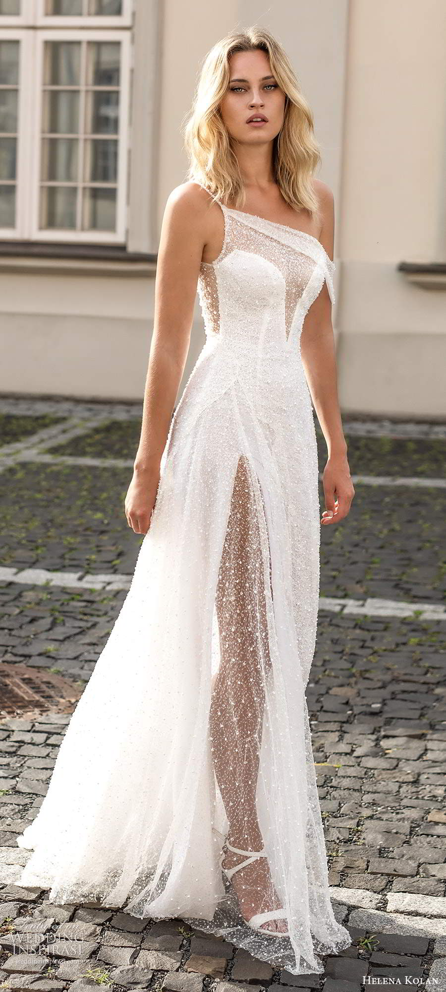 helena kolan 2020 bridal sleeveless one shoulder strap asmmetric neckline fully embellished glitzy a line ball gown wedding dress sweep train (6) mv