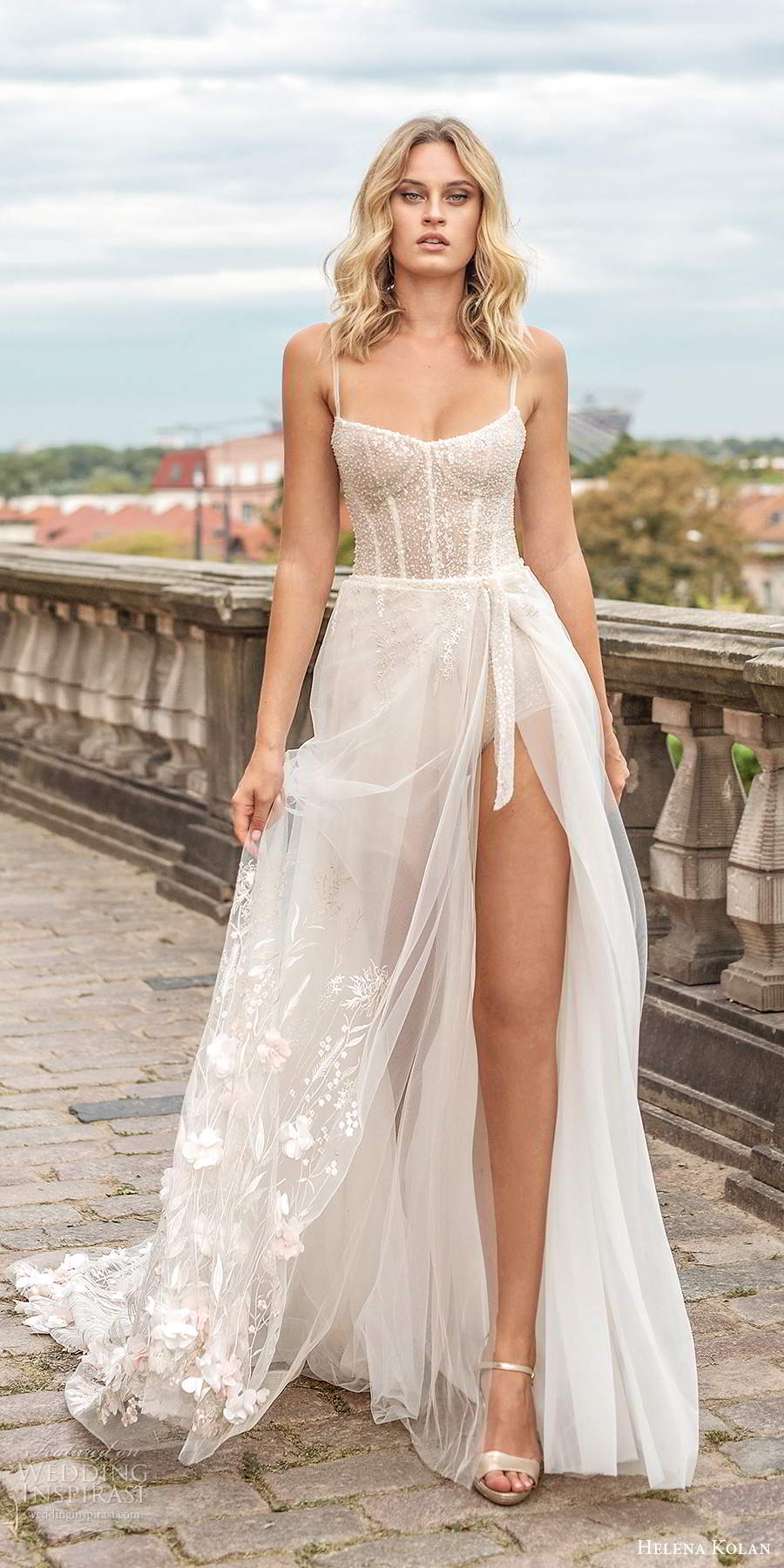 helena kolan 2020 bridal sleeveless thin straps scoop neckline heavily embellished bodice slit skirt sexy a line wedding dress chapel train (2) mv