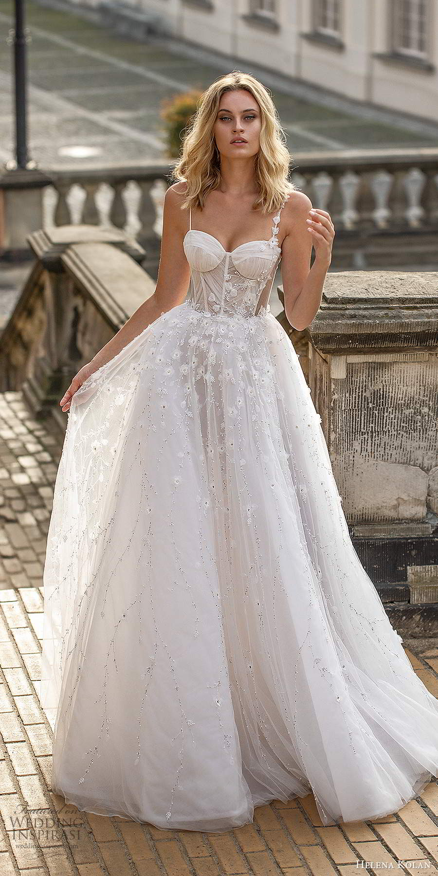 helena kolan 2020 bridal sleeveless thin straps sweetheart nevkline corset bodice fully embellished romantic a line ball gown wedding dress (5) mv