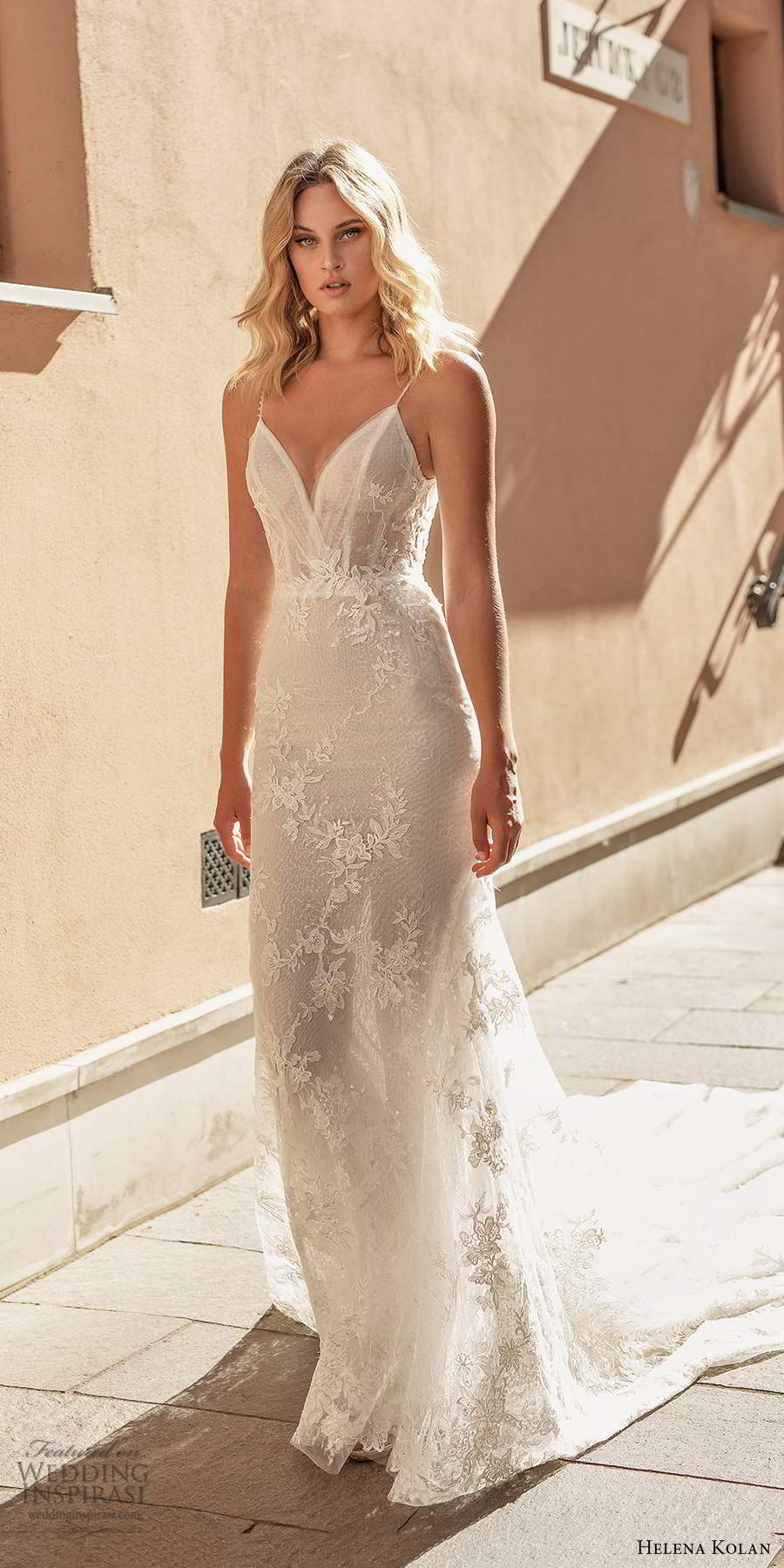 helena kolan 2020 bridal sleeveless thing straps sweetherat neckline fully embellished fit flare a line lace wedding dress sheer back chapel train (3) mv