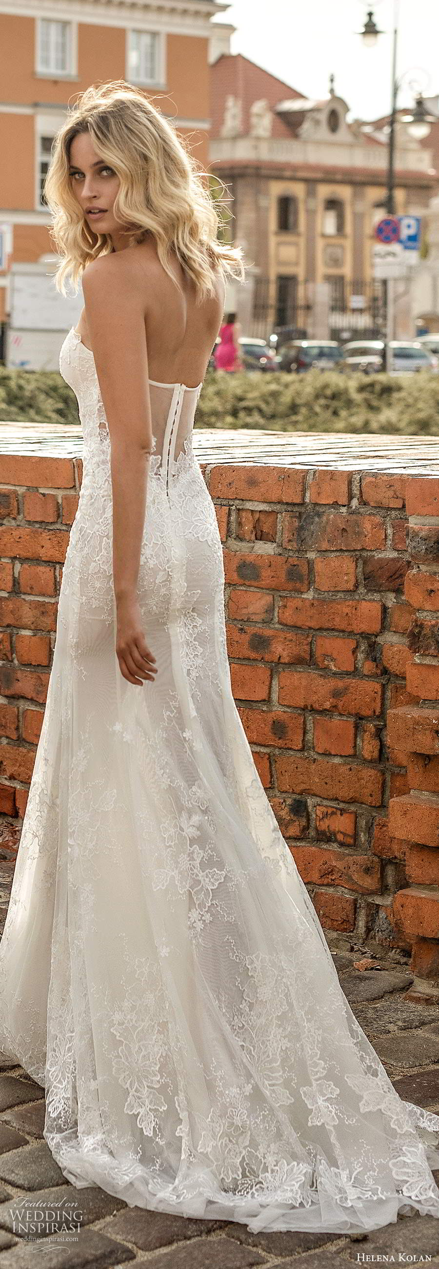 helena kolan 2020 bridal strapless semi sweetheart fully embellished lace fit flare mermaid sheath wedding dress sheer back  chapel train (9) bv
