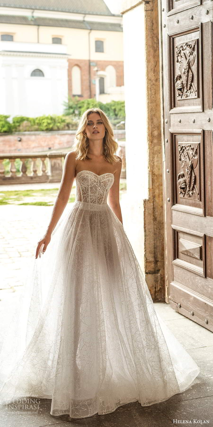 helena kolan 2020 bridal strapless sweetheart sheer corset bodice fully embellished lace a line ball gown wedding dress sheer back chapel train (8) mv