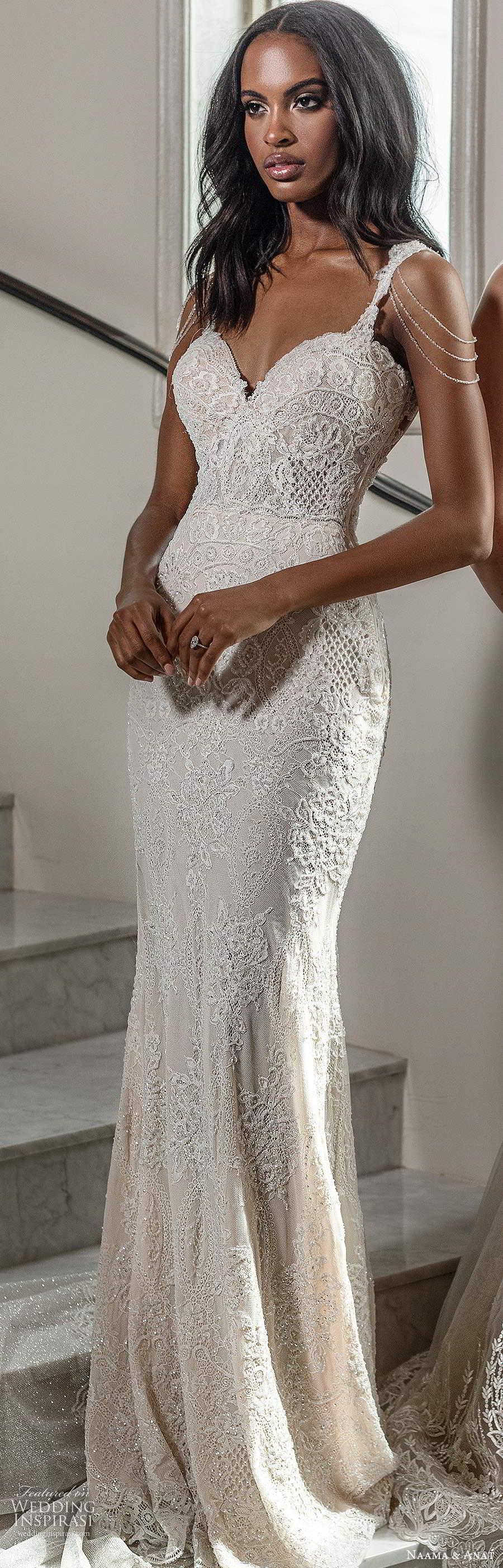 naama anat spring 2020 knottinghill bridal cap sleeve straps sweetheart neckline fully embellished lace sheath mermaid wedding dress chapel train (2) mv