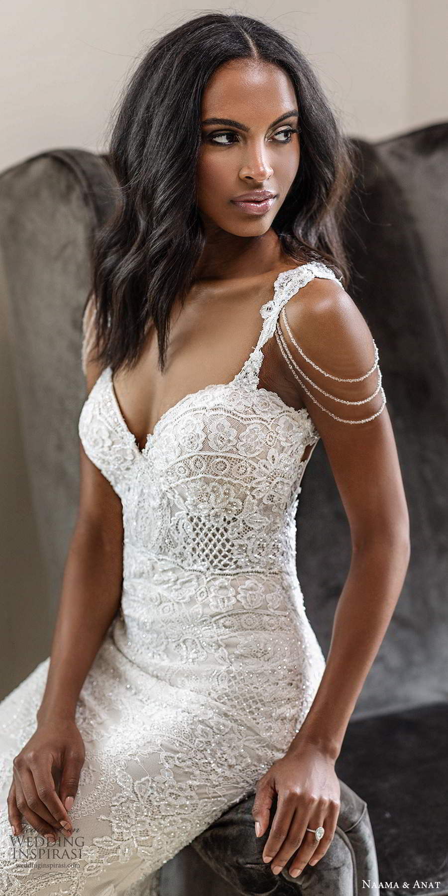 naama anat spring 2020 knottinghill bridal cap sleeve straps sweetheart neckline fully embellished lace sheath mermaid wedding dress chapel train (2) zv