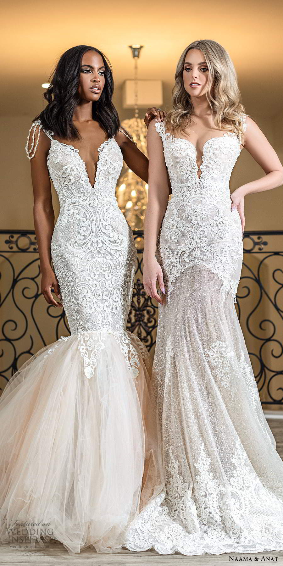 naama anat spring 2020 knottinghill bridal cap sleeves queen anne neckline fully embellished lace fit flare glitzy blush wedding dress chapel train (6) fv