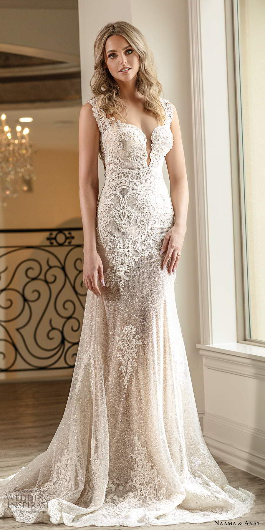 naama anat spring 2020 knottinghill bridal cap sleeves queen anne neckline fully embellished lace fit flare glitzy blush wedding dress chapel train (6) mv