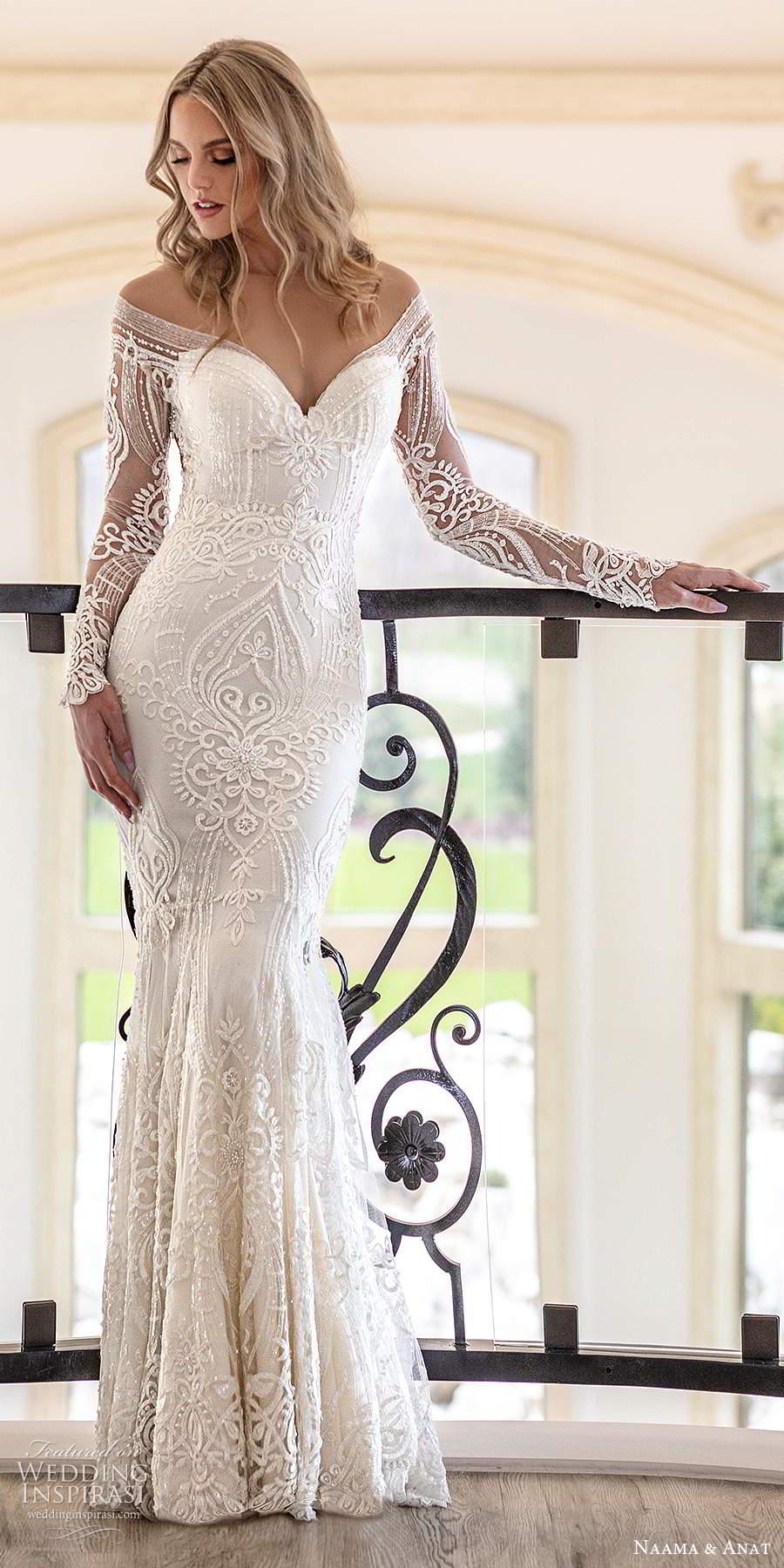 naama anat spring 2020 knottinghill bridal illusion long sleeves off shoulder sweetheart neckline fully embellished sheath sheer back wedding dress (3) mv