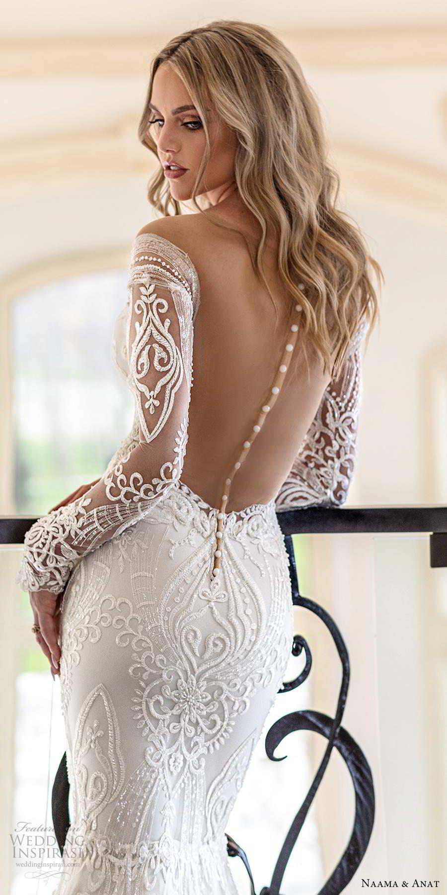 naama anat spring 2020 knottinghill bridal illusion long sleeves off shoulder sweetheart neckline fully embellished sheath sheer back wedding dress (3) zbv