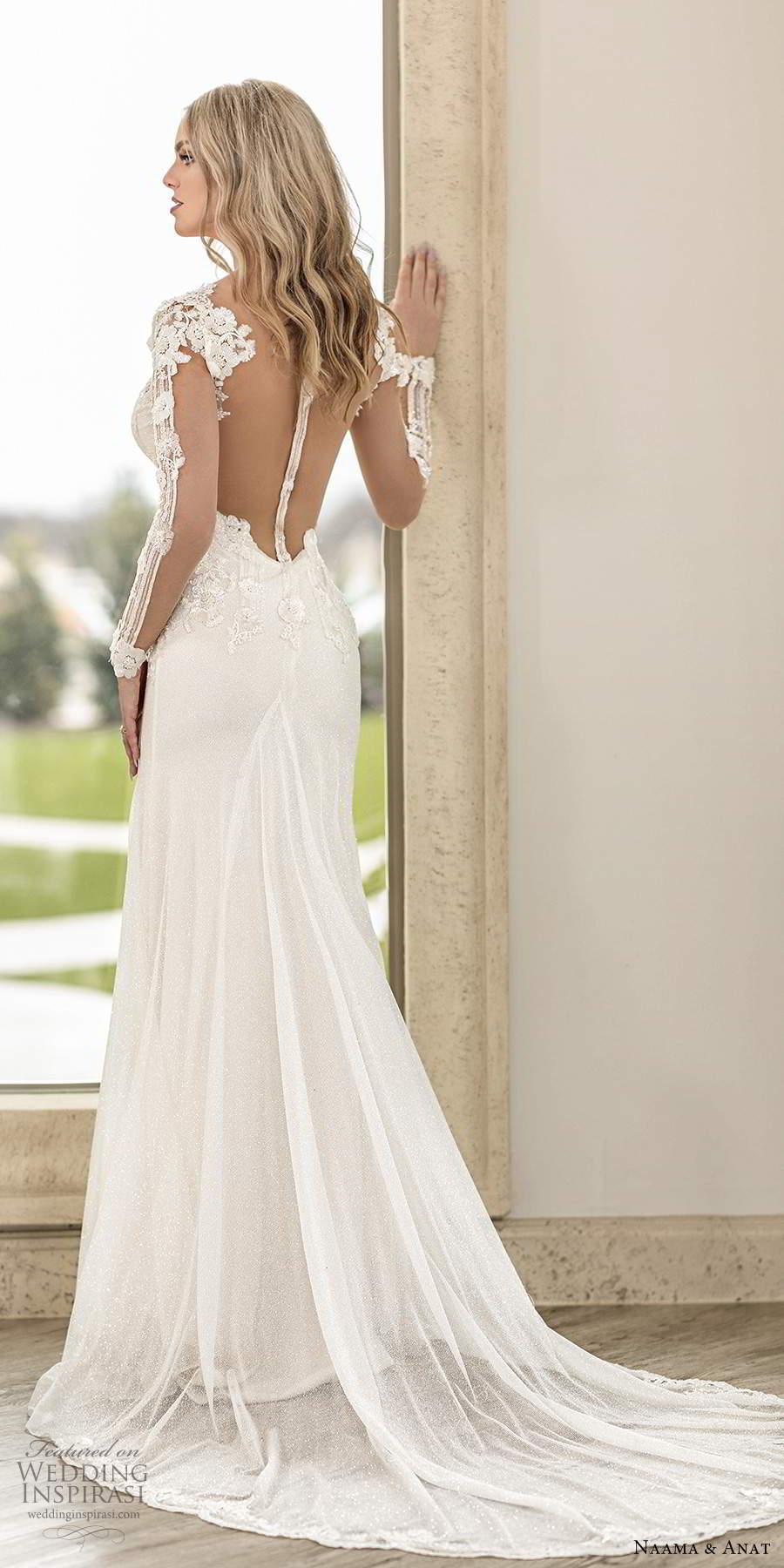 naama anat spring 2020 knottinghill bridal illusion long sleeves plunging v neckline heavily embellished bodice fit flare a line wedding dress sheer back chapel train (7) bv