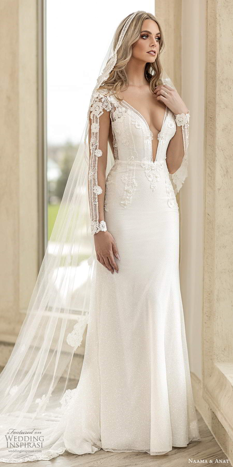 naama anat spring 2020 knottinghill bridal illusion long sleeves plunging v neckline heavily embellished bodice fit flare a line wedding dress sheer back chapel train (7) mv